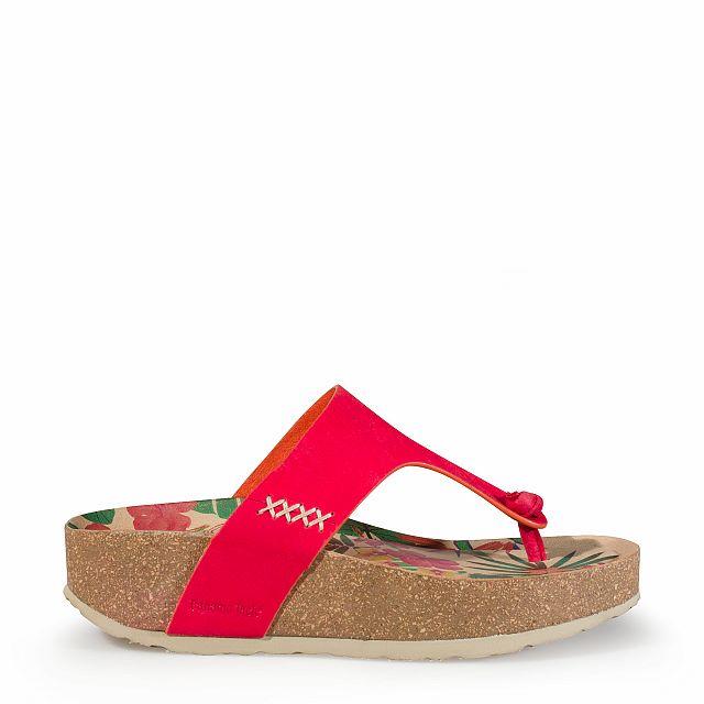 Sandalia de piel rojo