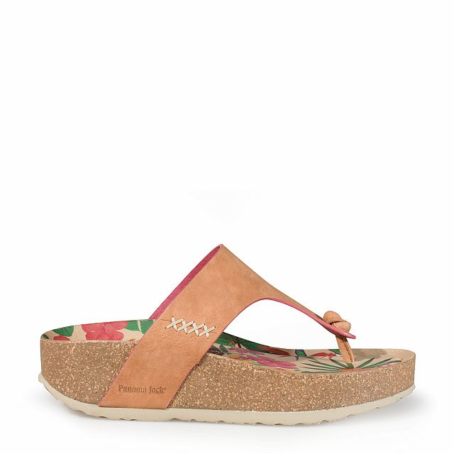Women's leather sandal in camel