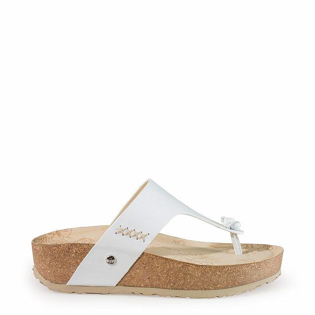 Leren sandaal in wit en met een leren voering