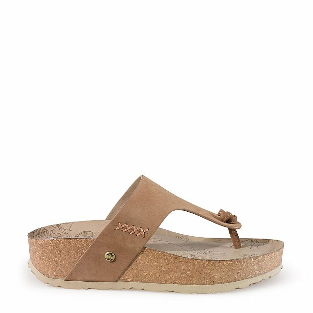 Leather sandal in taupe with leather inner lining