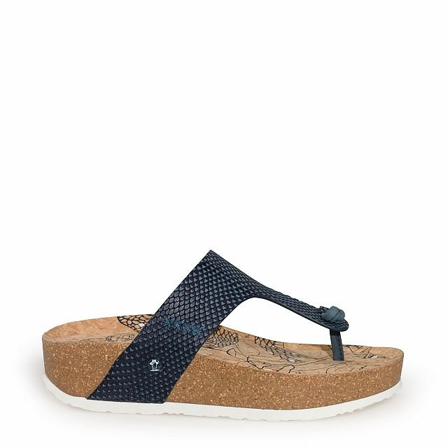 Leren sandaal,  marineblauw met een leren voering