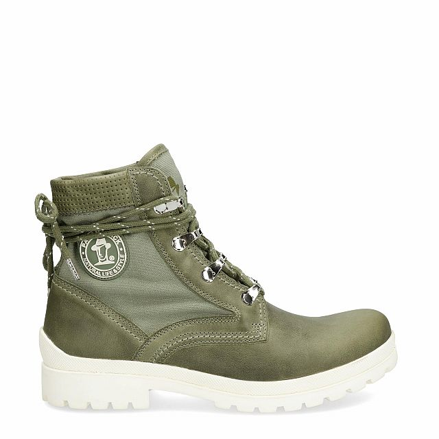 Leather and fabric boot in khaki