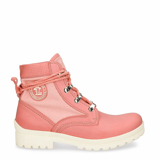 Leather and fabric boot in coral