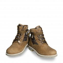 Women's leather and textile boot in bark colour