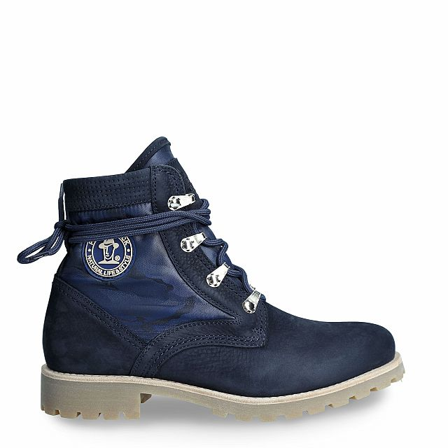 Women's leather and textile boot in navy colour