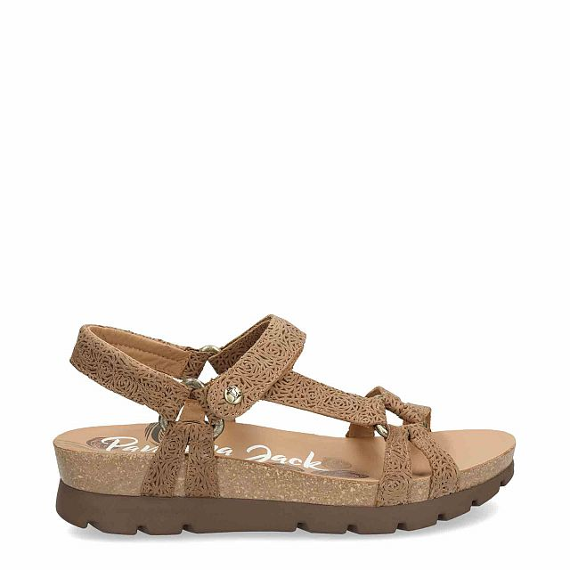 Leather sandal in mink with leather inner lining