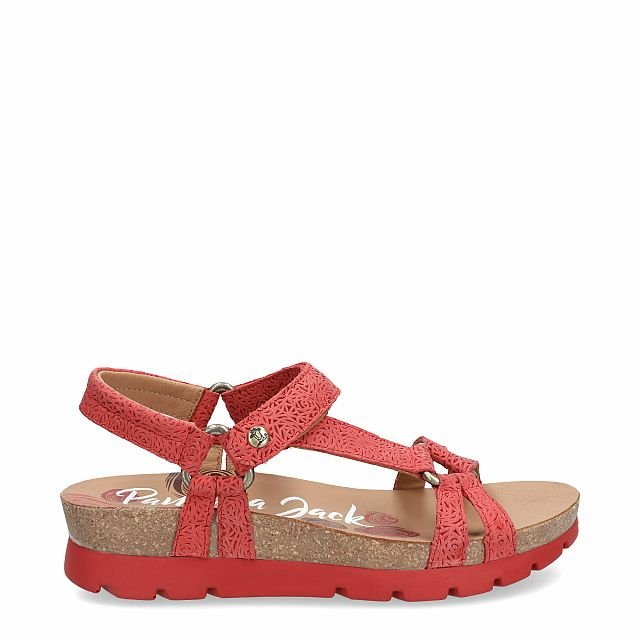 Leather sandal in red with leather inner lining