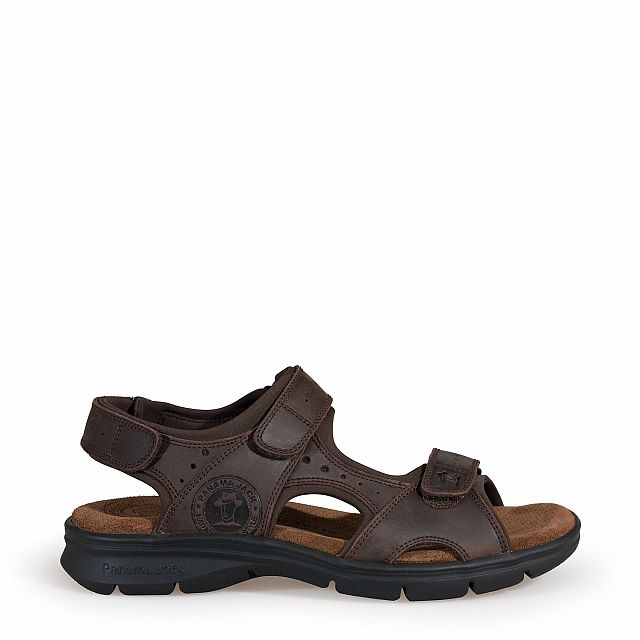 Leren sandaal, bruin met een lycra voering