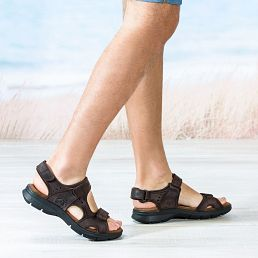 Brown leather sandals with a lycra lining
