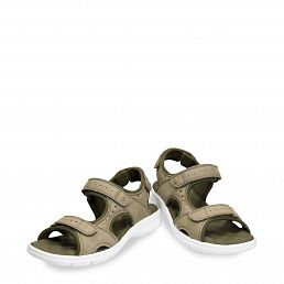 Kakhi leather sandals