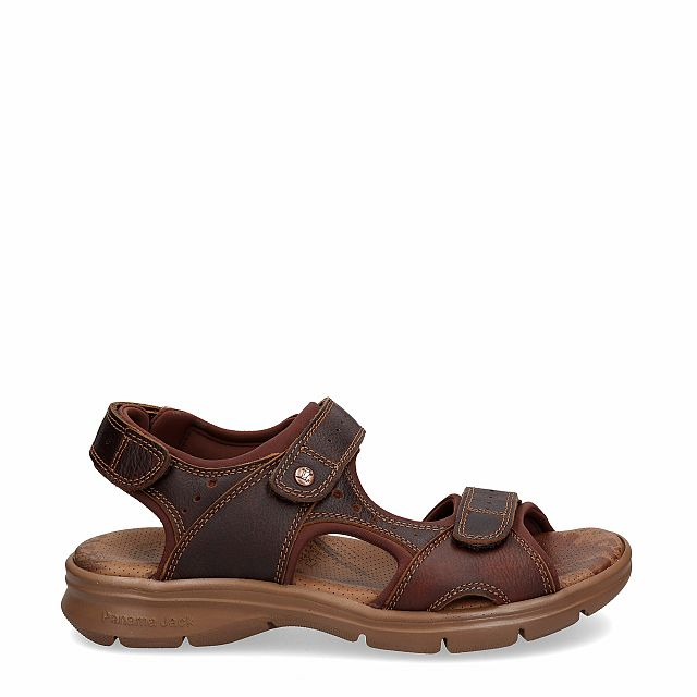 Leather sandal in chestnut with Lycra inner lining