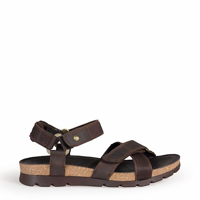 Leather sandal in brown with leather inner lining