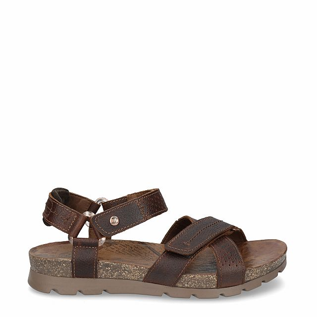 Leather sandal in chestnut with leather inner lining