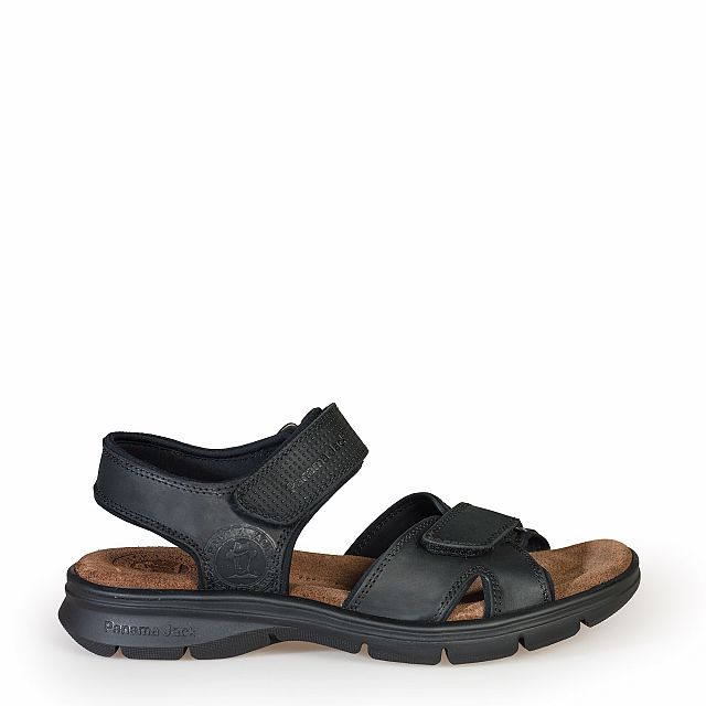 Leather sandal in black with Lycra inner lining