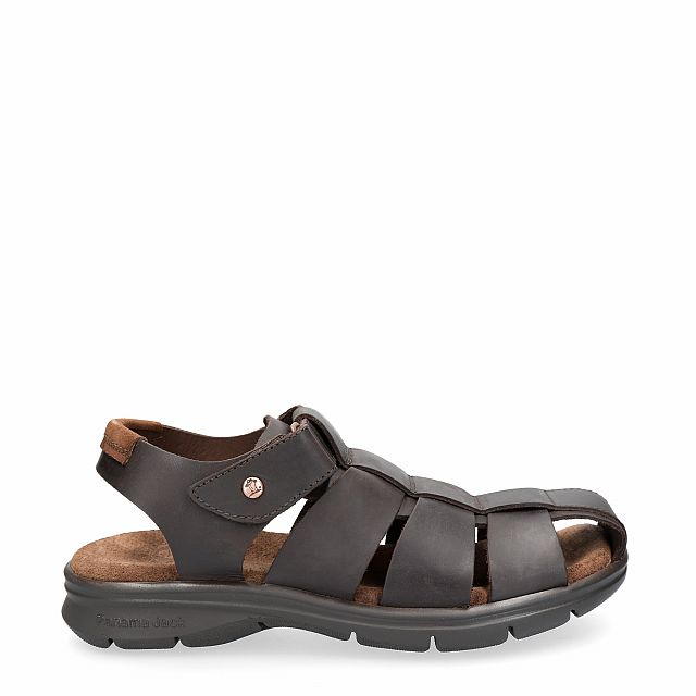 Leather sandal in brown