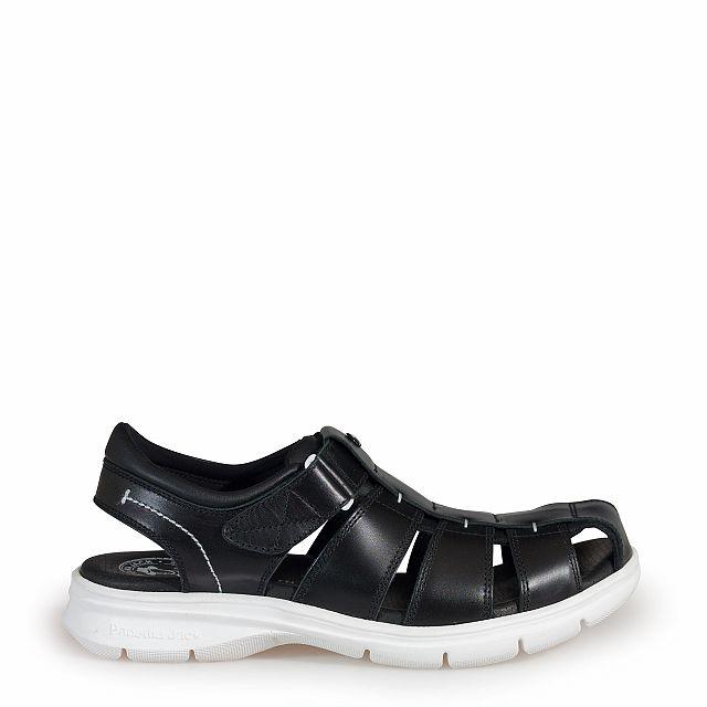 Sandalia de piel negro con forro de lycra