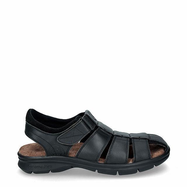 Leren sandaal, zwart met een lycra voering