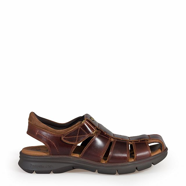 Leather sandal in tan with Lycra inner lining