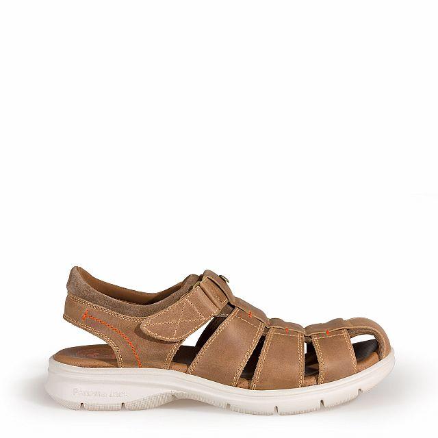 Leren sandaal, nertsgrijs met een lycra voering