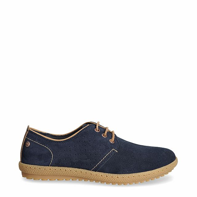 Leather shoe in navy with leather inner lining