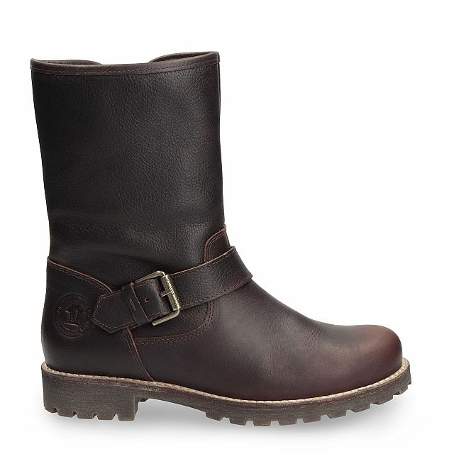 Leather boot in chestnut with fur inner lining