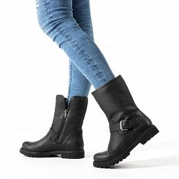 Leather women's biker boots with a Gore-tex® lining