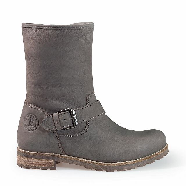 Leather boots in grey with sheepskin inner lining