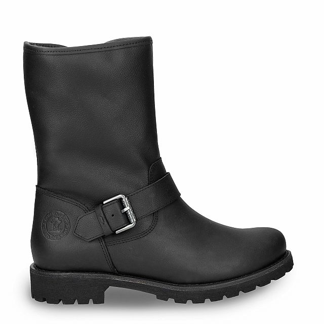 Black leather boot with a lining of natural fur