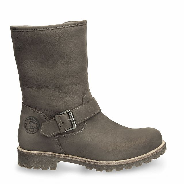 Leather boot in grey with sheepskin inner lining