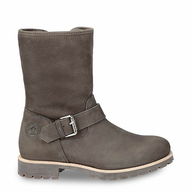 Grey leather boot with a lining of natural fur