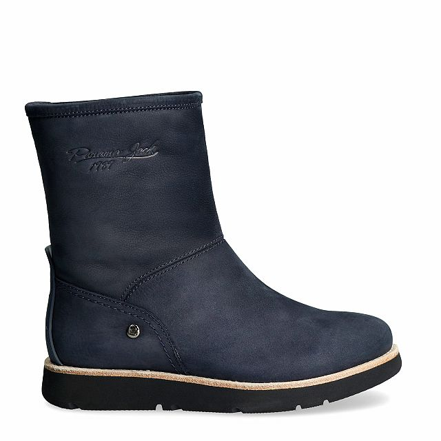Leather ankle boot in navy with a fur lining