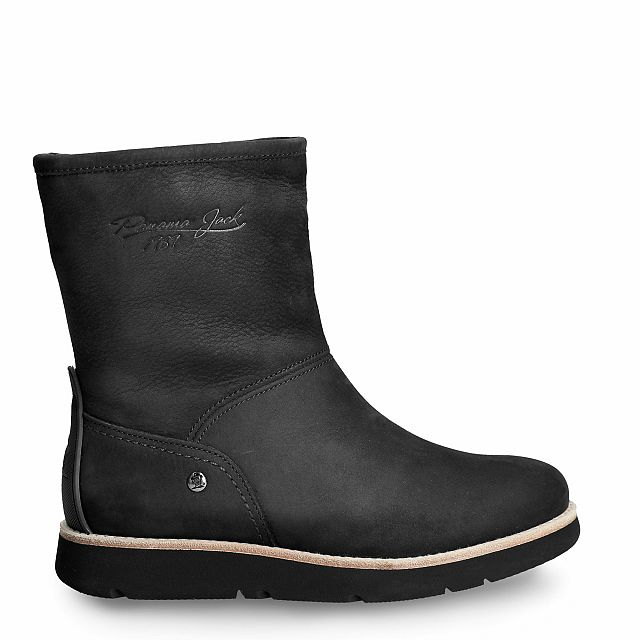 Black leather ankle boot with warm lining