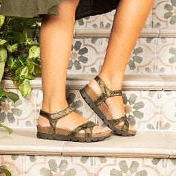 Khaki textile sandals with a leather lining