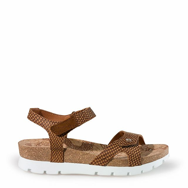 Leren sandaal,  naturel met een leren voering