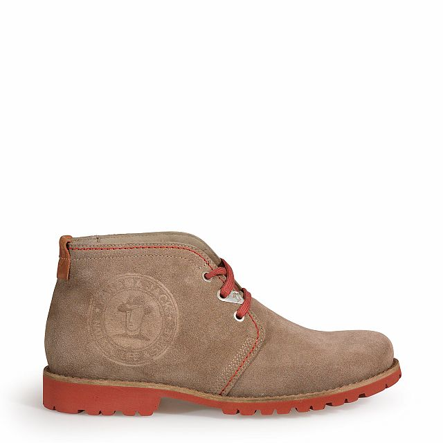 Men's leather ankle boot in taupe
