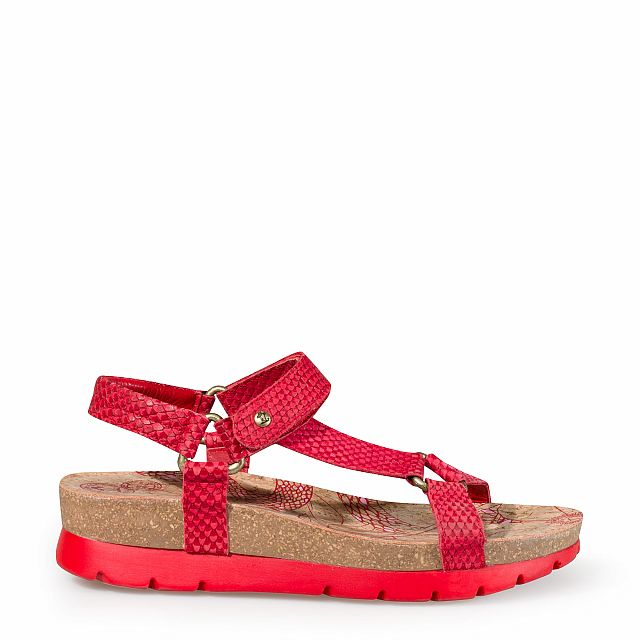 Women's leather sandal in red