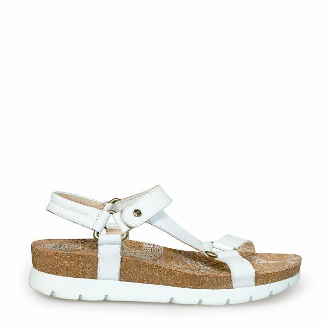 Sandalia de piel blanca