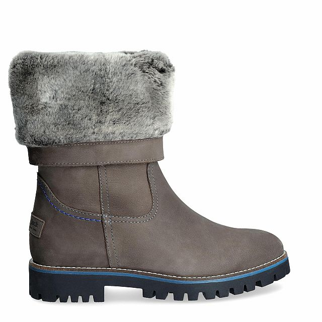 Grey leather boot with a fur lining