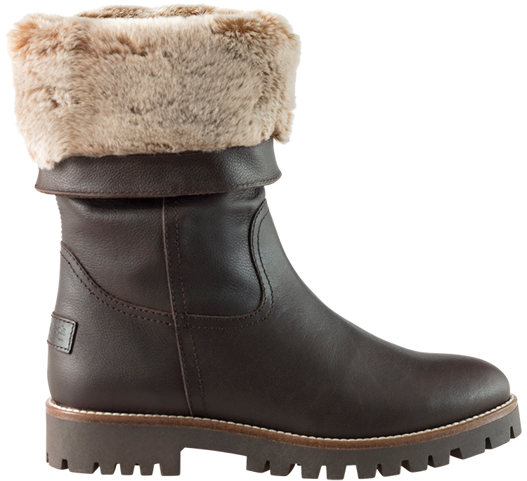 Leather boots in brown with fur inner lining tania women s boots with