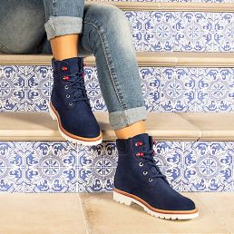 Navy leather boots with a leather lining