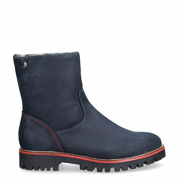 Navy leather boot with a fur lining
