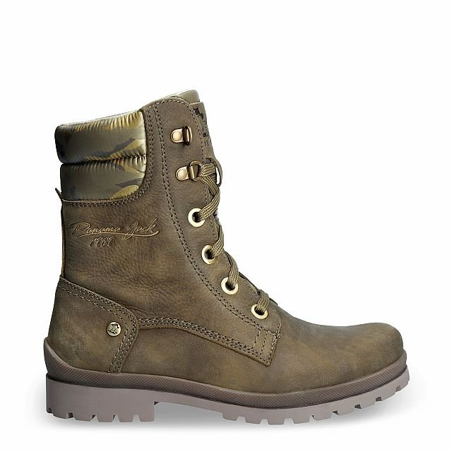 Leather boot in khaki with a textile lining