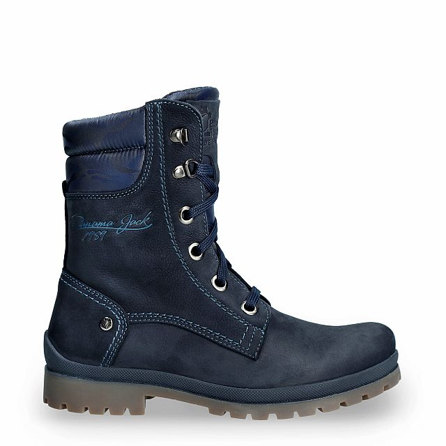 Navy leather boot with a textile lining