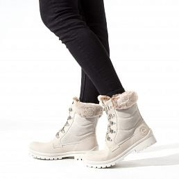 Leather women's winter boots white with warm lining