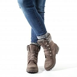 Grey leather women's boot with a fur lining