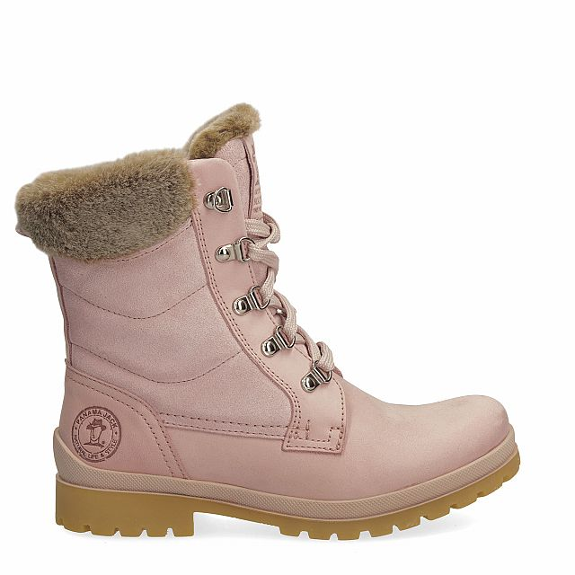 Leather boot in pink with fur inner lining