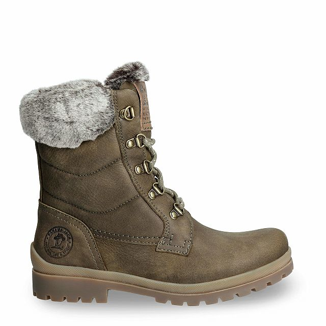 Leather boot in khaki with a fur lining