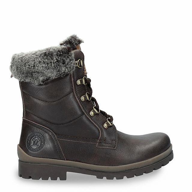 Brown leather boot with a fur lining