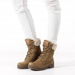 Leather women's winter boots with warm lining