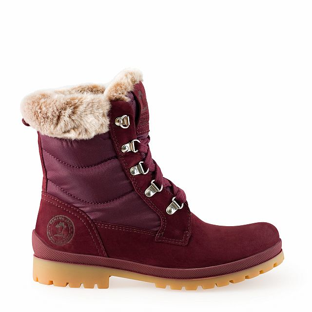 Leather and textile boots in burgundy with fur inner lining